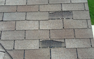 Missing, cracked, or curled shingles